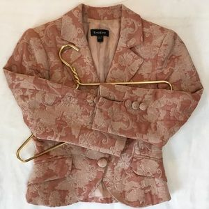 Bebe Pink Floral Embroidered Brocade Blazer S